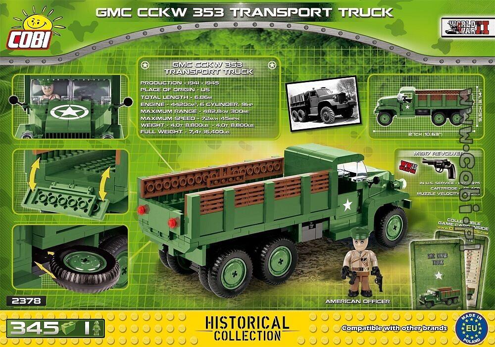 Baukästen & Konstruktion Amerikanischer LKW COBI 2378 GMC CCKW 353 Transport Truck